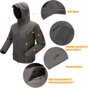 FREE SOLDIER Men's Fleece Lined Softshell Jacket Water Resistant Tactical Jacket